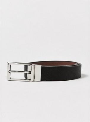 Topman Mens Smart Skinny Polished Silver Buckle Reverse Belt in Black and Tan
