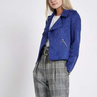 River Island Womens Petite blue faux suede cropped trench jacket