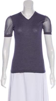 Giorgio Armani Short Sleeve Cashmere Top