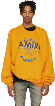 Amiri Yellow Oversized Team Logo Sweatshirt
