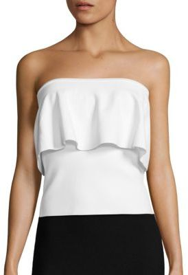 MILLY Strapless Flounce Top $270 thestylecure.com