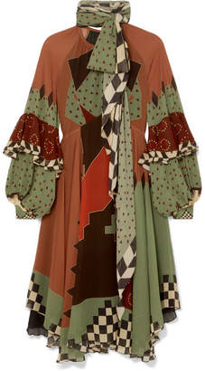 Etro Asymmetric Printed Silk-georgette Midi Dress - Brown