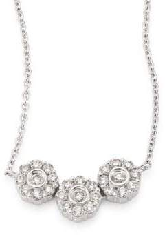 Hueb Three Flower Diamond& 18K White Gold Pendant Necklace