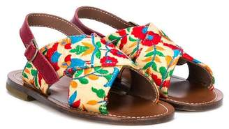 Pépé floral embroidered crossover sandals