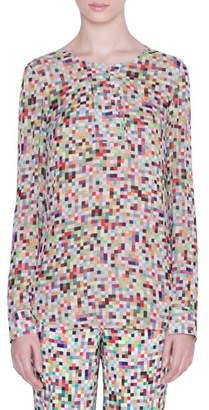 Akris Punto Pixel Print Silk Blouse