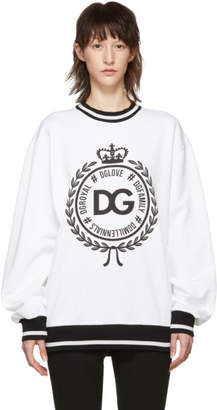 Dolce & Gabbana White DGFamily Crown Sweatshirt