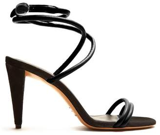 Isabel Marant Abigua Tie Ankle Leather Sandals - Womens - Black