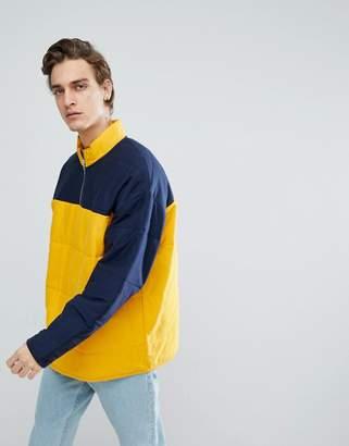 Asos DESIGN Oversized Half Zip Track Sweatshirt In Quilted Puffer With Color Blocking