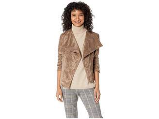 Blank NYC Taupe Faux Suede Jacket with Zipper Detail in Zombie Ad