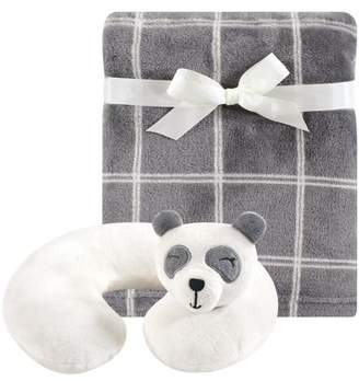 Hudson Baby Boy and Girl Travel Neck Support Pillow and Blanket Set, 2 Piece, Panda