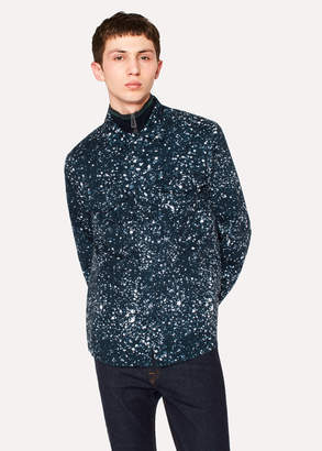 Paul Smith Men's Navy Cotton-Twill 'Paint Splash' Print Shirt Jacket