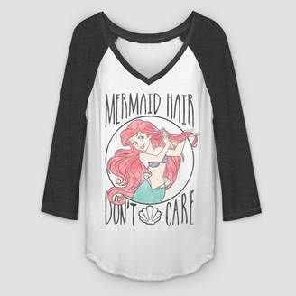 Fifth Sun Women's 3/4 Sleeve Mermaid Hair Raglan T-Shirt - White/Black