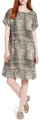 Eileen Fisher Bateau Neck Silk Shift Dress