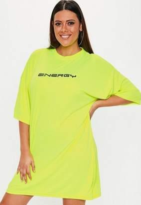 Missguided Size Fluro Energy Slogan Oversized T Shirt Dress