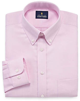 STAFFORD Stafford Travel Wrinkle-Free Stretch Oxford Long Sleeve Dress Shirt
