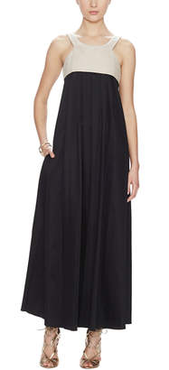 L'Agence L''agence Long Dress With Linen Yoke