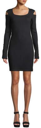 Helmut Lang Slash Scoop-Neck Long-Sleeve Sheath Dress