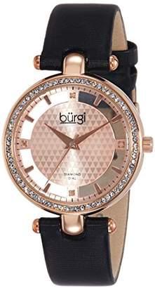 Burgi Women's BUR104RG Rose Gold-tone Diamond and Crystal Black Satin Strap Watch