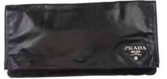 Prada Distressed Leather Logo Clutch