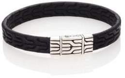 John Hardy Classic Chain Leather& Sterling Silver Bracelet