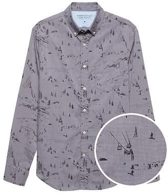 Banana Republic Grant Slim-Fit Luxe Poplin Ski Print Shirt