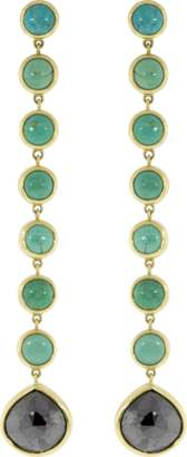 Todd Reed Black Fancy Diamond And Turquoise Drop Earrings