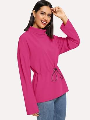 Shein Neon Pink Drop Shoulder Drawstring Waist Pullover
