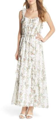 Gal Meets Glam Isabella Floral Stripe Cross Back Maxi Dress