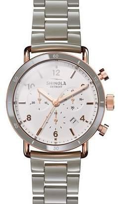 Shinola Canfield Sport 40mm 3-Eye Chronograph Watch with Bracelet