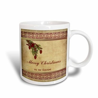 3dRose Christmas Tree Decorated Branch With Red Ornaments, Flowers, and Ribbons, To My Cousin, Ceramic Mug, 15-ounce