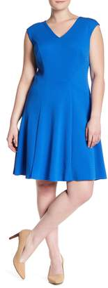 London Times Textured Knit Fit & Flare Dress (Plus Size)