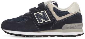 New Balance 574 Suede & Mesh Strap Sneakers