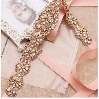 Yanstar Wedding Bridal Belt With Silver Rhinestone Blush Ribbon Sashes For Wedding Gown