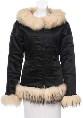 Giuliana Teso Fur-Trimmed Satin Jacket