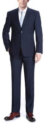 Verno Big Men's Navy Wool Slim-fit Italian-style 2-piece Suit