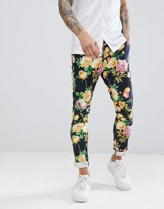 Asos Design DESIGN Super Skinny Pants In Navy Floral Print