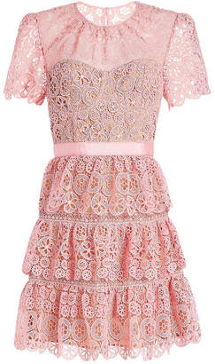 Self-Portrait Tiered Lace Mini Dress