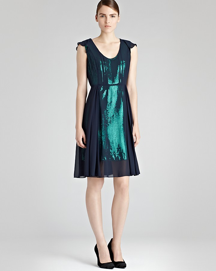 Reiss Sequin Dress - Etta Sheer Overlay