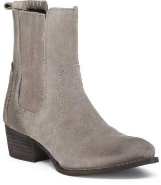 Distressed Block Heel Double Gore Suede Boots