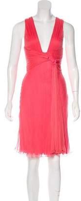Versace Buckle-Accented Plissé Dress