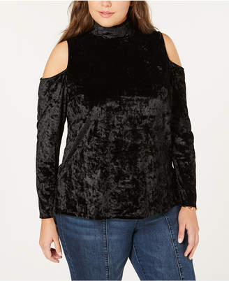 One A Plus Size Crushed Velvet Cold-Shoulder Top