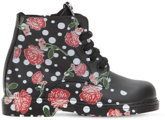 Be Kool Roses Printed Leather Ankle Boots