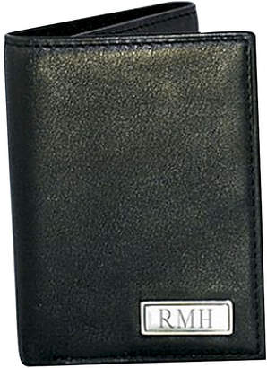Asstd National Brand Leather Trifold Wallet with Engravable Plaque