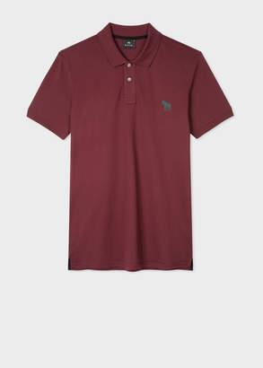 Paul Smith Men's Slim-Fit Burgundy Embroidered 'Zebra' Polo Shirt