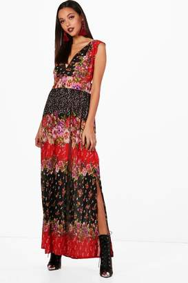 boohoo Floral Printed Cross Back Maxi Dress