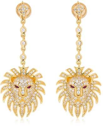 Apm Monaco Silver Lion Statement Earrings