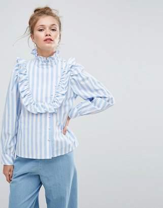 Asos Stripe Shirt With Ruffle Bib