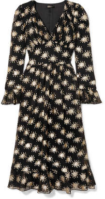 Stine Goya William Metallic Fil Coupé Silk-blend Midi Dress - Black
