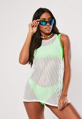 Missguided White Fishnet Dropped Armhole Tank Top Top