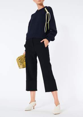 Tibi Anson Stretch Cuffed Cropped Wide Leg Pants